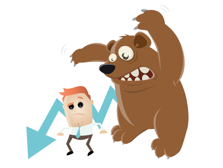funny recession cartoon with man and bear