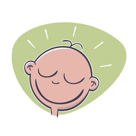 cheeky: funny cartoon baby head Illustration