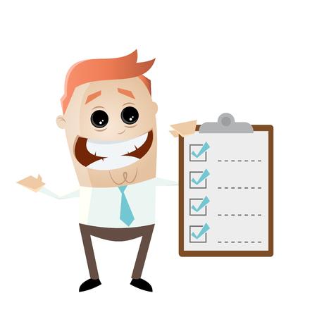 funny businessman with checklist