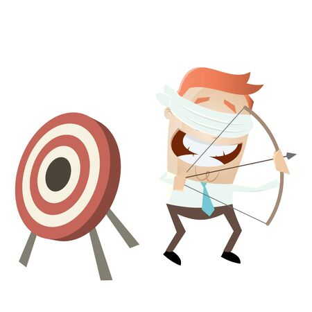businessman aiming in the wrong direction Illustration