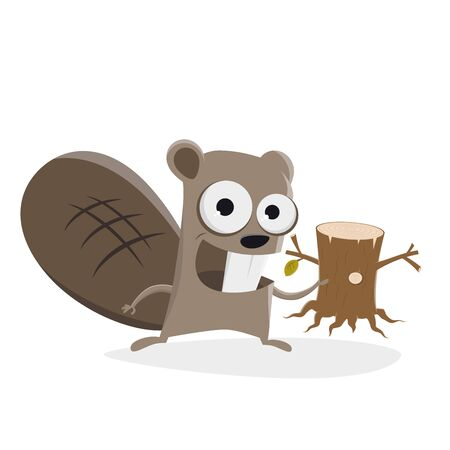 funny beaver with tree stump clipart