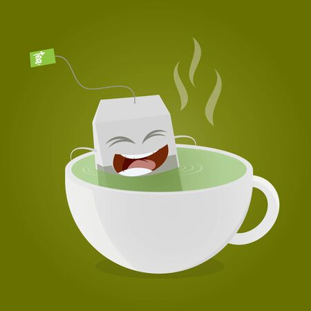 teabag taking a bath in cup of tea clipart