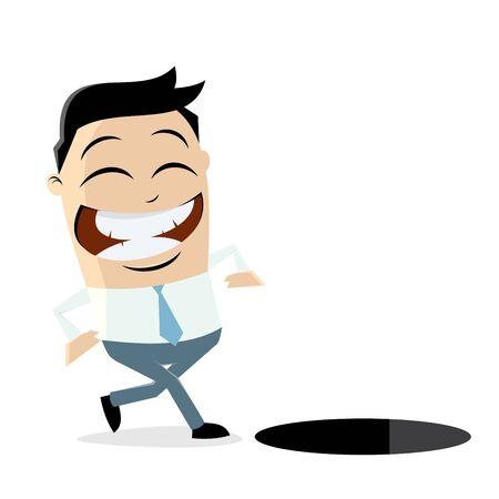 A careless businessman walking towards a hole