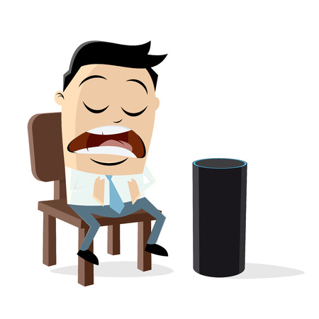 A funny man talking to a digital assistant Illustration
