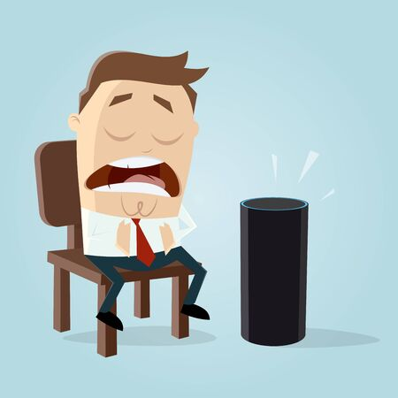 Funny man talking to a digital assistant vector illustration