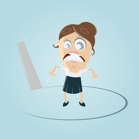 A businesswoman losing ground clip-art Illustration