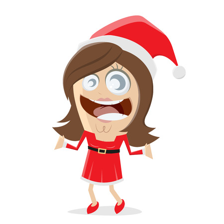 A happy Christmas woman in Santa Claus costume  isolated on plain background.