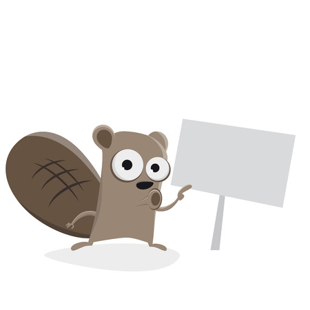 A funny beaver pointing at a sign clipart  isolated on plain background.