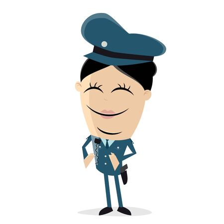 A clipart of a female police officer  isolated on plain background. Vectores