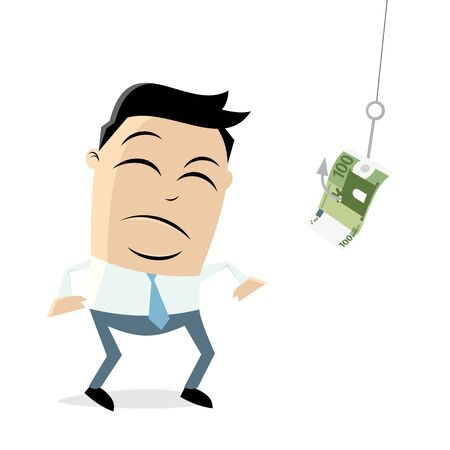 A skeptical businessman standing in front of a hook with money Illustration