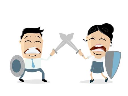 Een man die tegen vrouw vecht die op duidelijke achtergrond wordt geïsoleerd. Stockfoto - 96715639