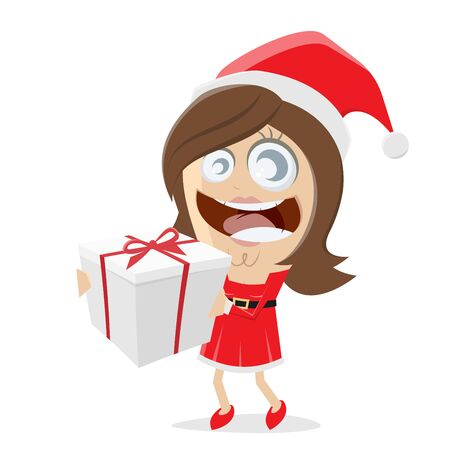 A Christmas woman in Santa Claus costume with a gift