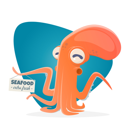 A funny cartoon octopus with seafood sign