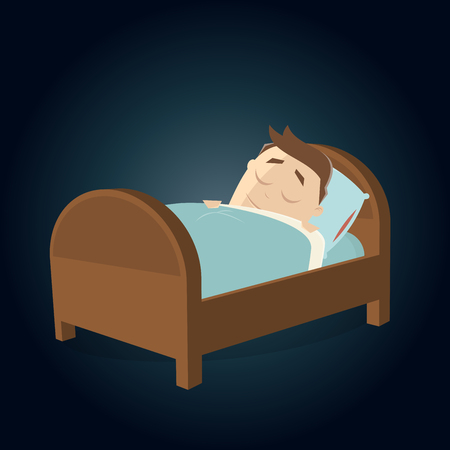 A cartoon man sleeping in bed clipart  isolated on plain background. Illustration