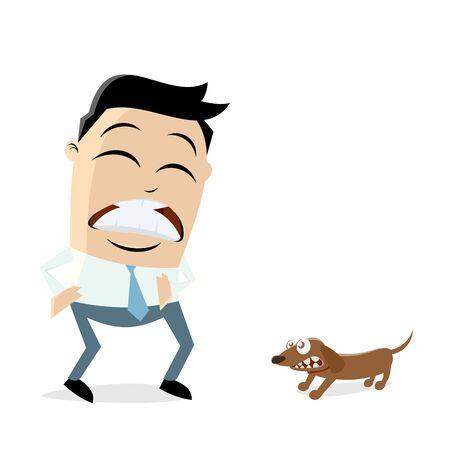 man is afraid of a little dog Illustration