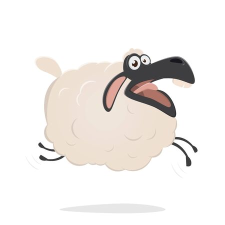 A funny cartoon sheep  isolated on plain background.
