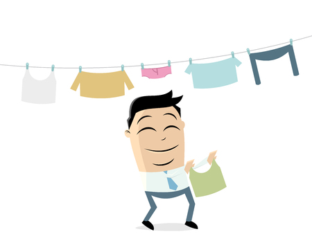 businessman hanging out the laundry Illustration