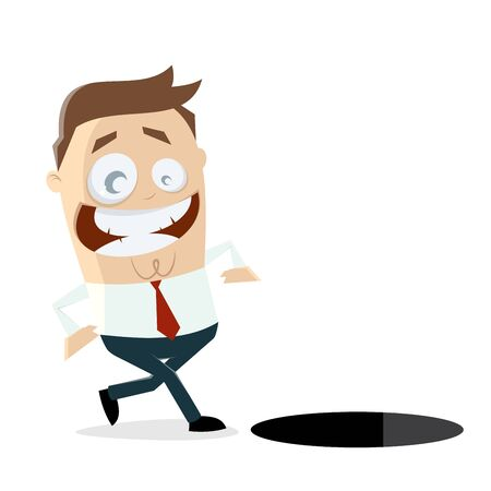 careless businessman walking in a hole Illustration