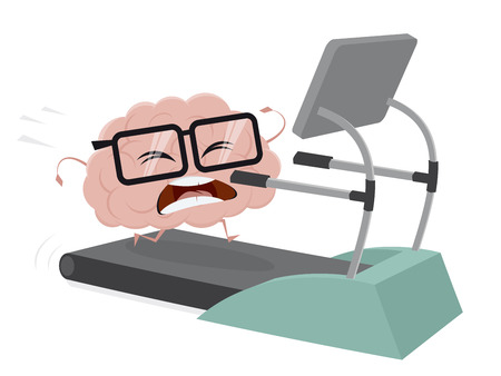 A funny brain training on a treadmill  isolated on plain background. Illustration