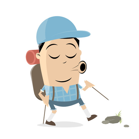 A hiking cartoon man  isolated on plain background.