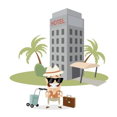 A tourist in front of a hotel  isolated on plain background. Illustration