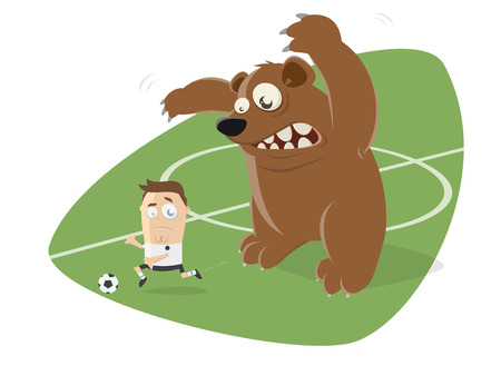 A russian bear behind a football player  isolated on plain background. Illustration