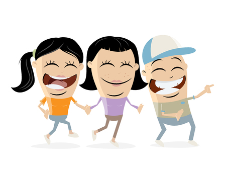 group of happy teens clipart Illustration