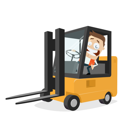 happy logistician with forklift clipart Illustration