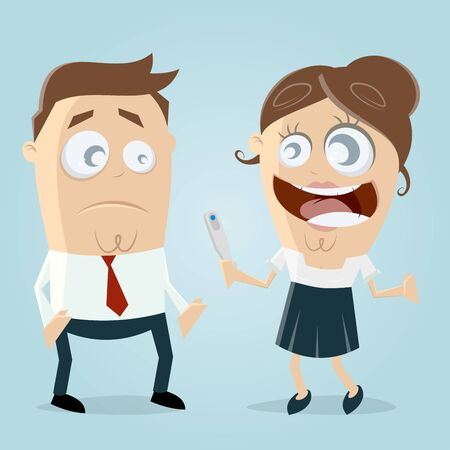 woman telling man that she is pregnant clipart Illustration