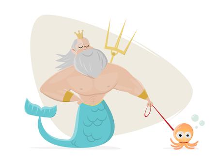 poseidon walks the octopus clipart