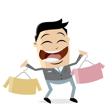 clipart of a shop assistant selling shirts
