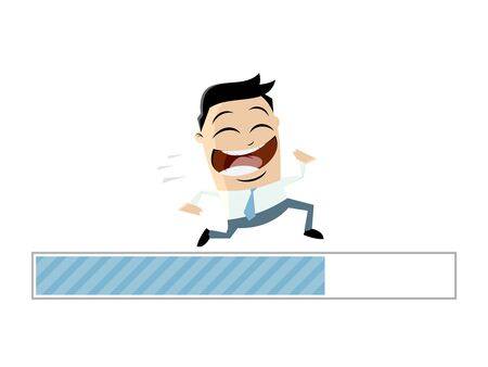 A running businessman with progress bar  isolated on plain background. Illustration