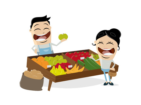 Greengrocer vegetables fruit clip art