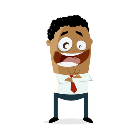 Happy businessman with arms crossed. Illustration