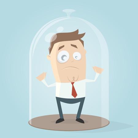 Businessman under a bell jar vector illustration design.