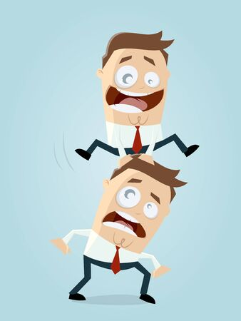 Businessman jumping over his competitor vector illustration. Illustration