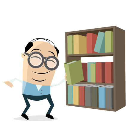Funny librarian with a bookshelf illustration on white background.