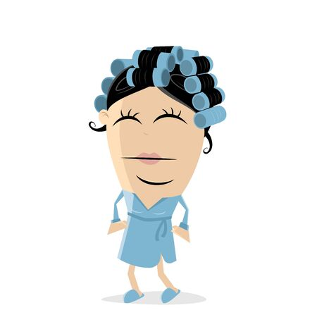 Funny woman with curlers illustration on white background. Vettoriali
