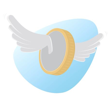 Flying coin with wings vector illustration design.