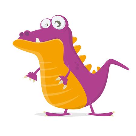 Funny cartoon dinosaur vector illustration design.