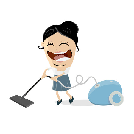 Happy housewife with vacuum cleaner vector illustration.