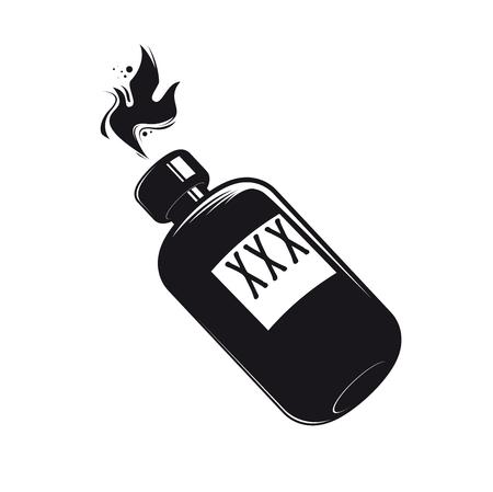 schwarze Flasche mit Schnaps clipart Vektorabbildung.