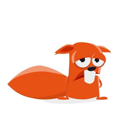 sad squirrel clipart Vector illustration.