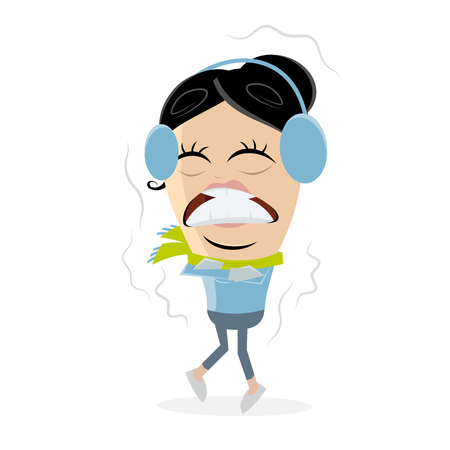 funny clipart of a freezing woman Vector illustration.