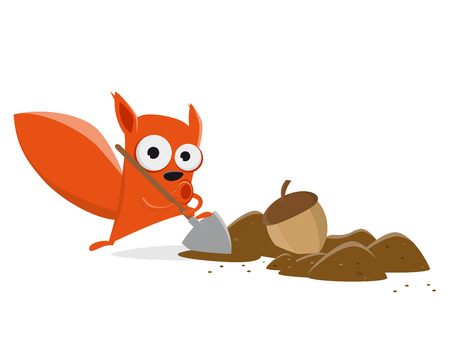 funny cartoon squirrel hiding a nut clipart Vector illustration.