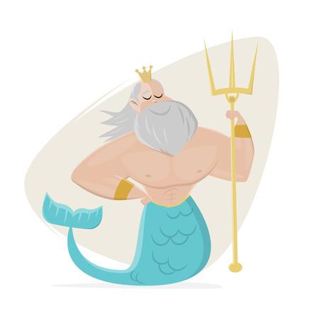 poseidon clipart neptune cartoon Vector illustration. Stock Illustratie