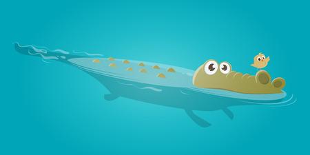 Funny crocodile and bird clip-art