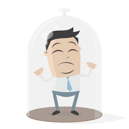 Businessman under a bell jar Illustration