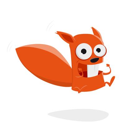Jumping cartoon squirrel