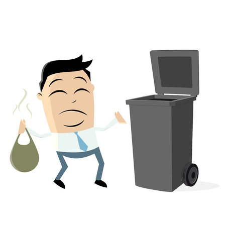 Unhappy man taking out the rubbish